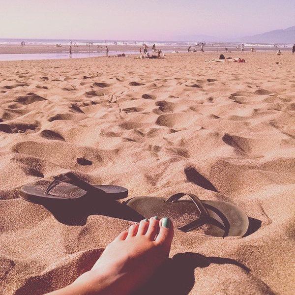 Enjoying Ocean Beach on a rare, sunny day.