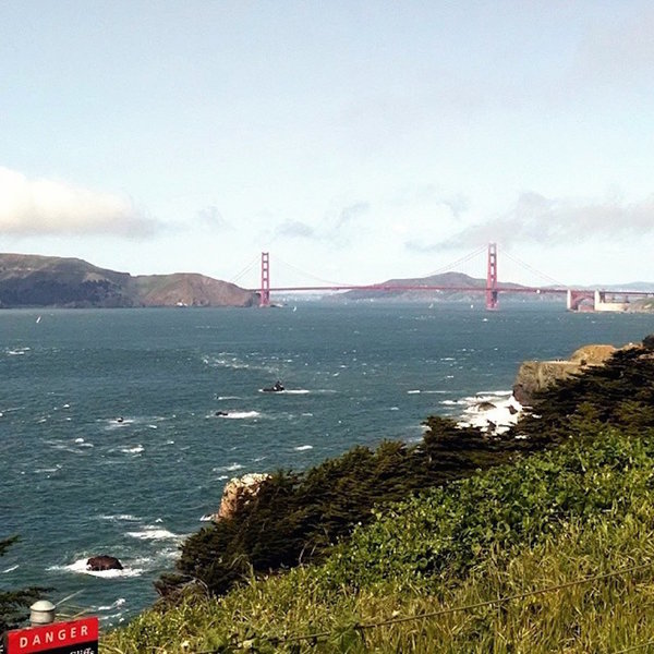 Great panorama views of the other side of Golden Gate Bridge and Marin.