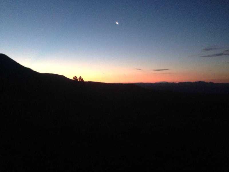 The sunrise from the Oak Grove Trail.