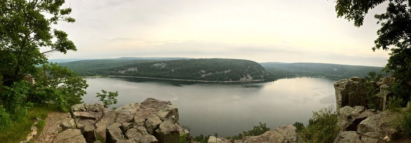 Panoramic of Devil's Lake on a rainy day.