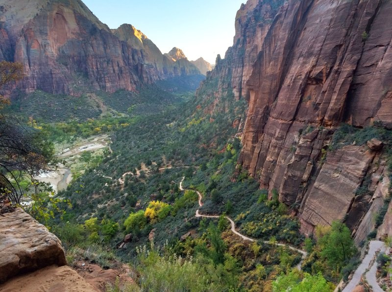 Looking down over the trail to Angels Landing.