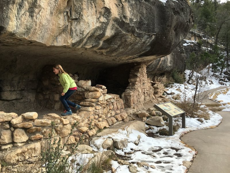Investigating the cliff dwellings.