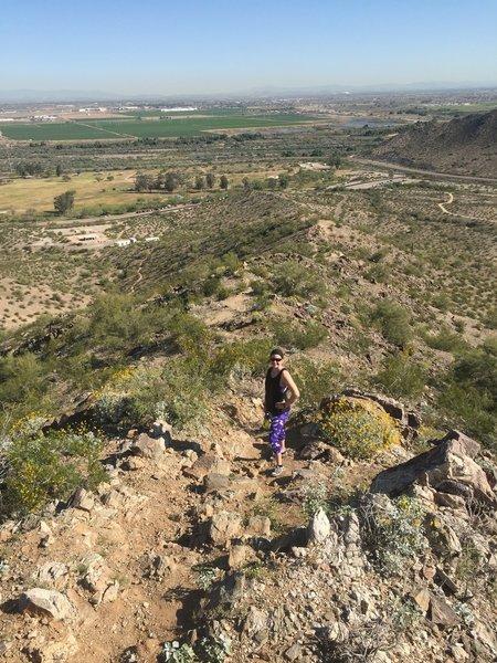 Hiking the ridge line of the Estrella Mountains.