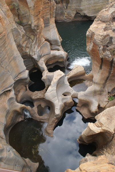 The view of the Bourke's Luck Potholes. The potholes are a pretty interesting rock formation caused by the running water.