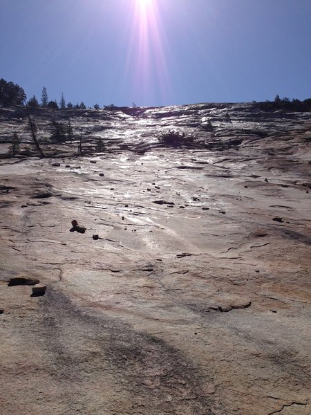 River on the left, granite on the right.