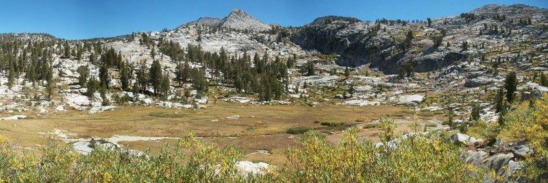Beautiful meadow views north of Granite Pass.