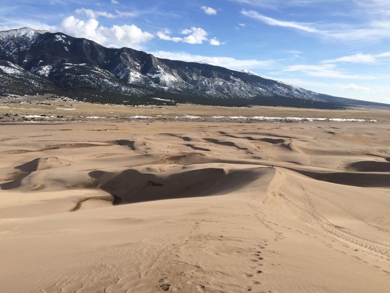 Looking down the dunes toward the Visitor Center.