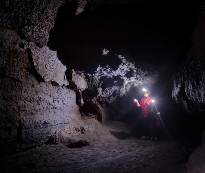 The darkness in the Ape Cave is both unearthly and exciting.