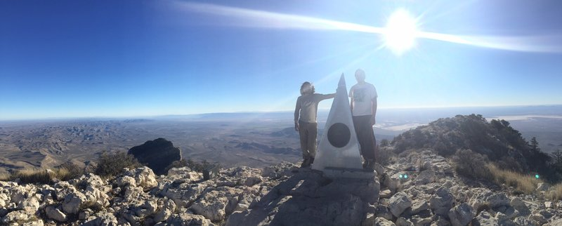 At the summit of Guadalupe Peak with my brother after ascending the trail of the same name.