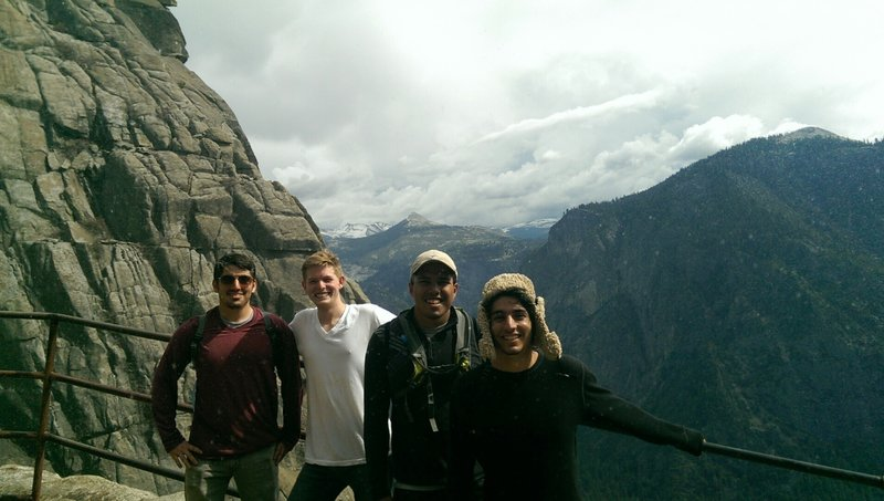 On top of the Upper Yosemite falls trail.