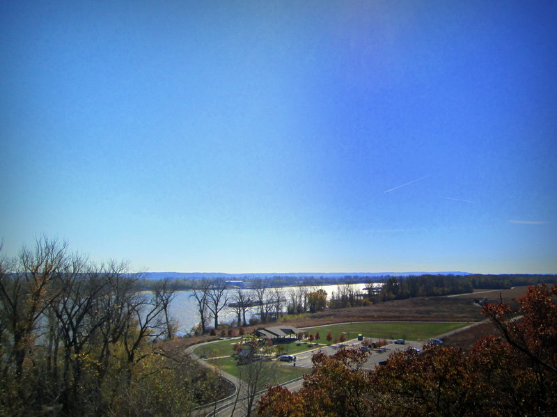 View of the park and river from the overlook along the River Bluff Trail at Cliff Cave County Park