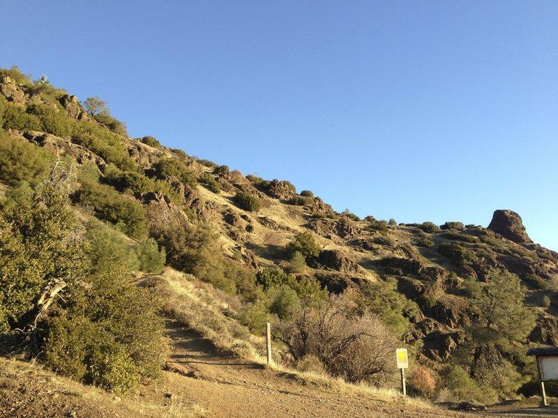 View down North Peak Trail to Devil's Elbow.