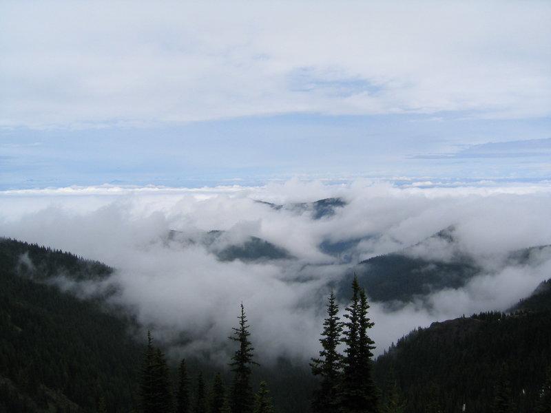 Cloudy hills.