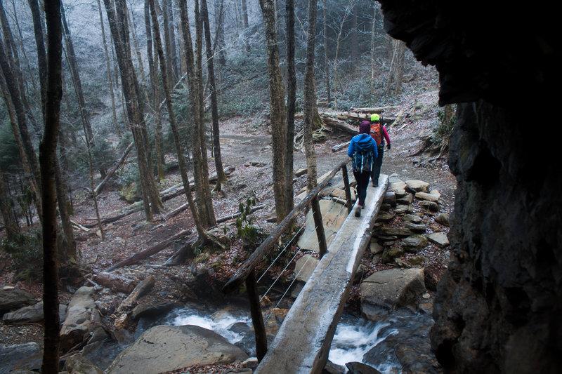 Log bridge before Arch Rock