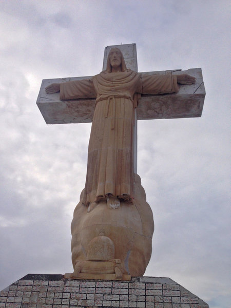 "The 29 foot tall limestone Mount Cristo Rey monument, commonly called ""Christ of the Rockies."""