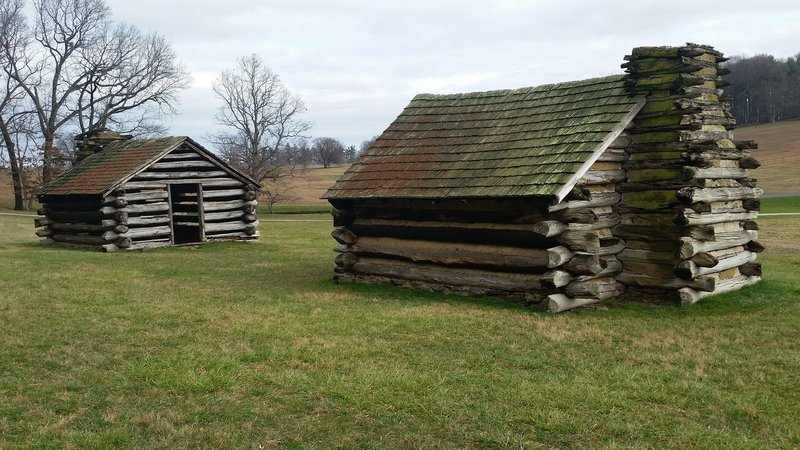 Recreation of soldier huts used during the winter encampment of 1777-1787