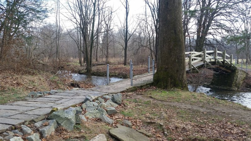 Bridge over Valley Creek.  Much of the trail is large pavers