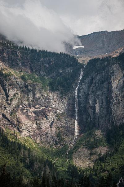 Amazing waterfall above Avalanche Lake.