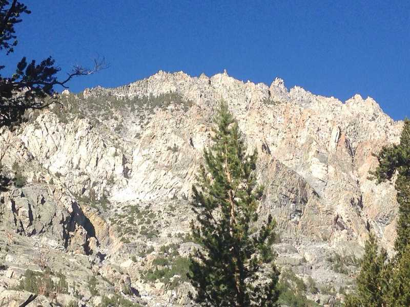 A view of some spectacular granite in Piute Canyon, with a really cool rock thumb sticking up in the top middle part of the ridge.