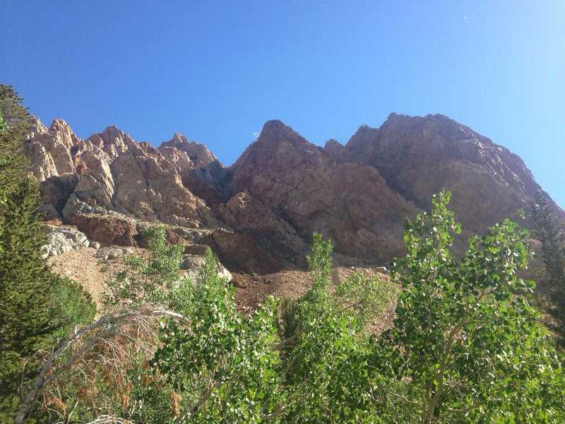 The captivating, colored Piute Crags.