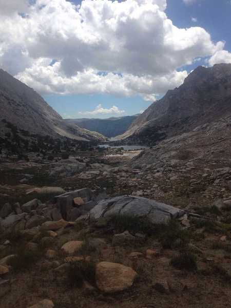 A view back down the Piute Pass Trail and the Bishop Creek drainage from Piute Pass.