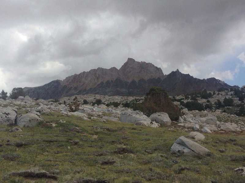 The spectacular Mount Humphreys, as seen from Humphreys Basin, with its dichotomy of colors.