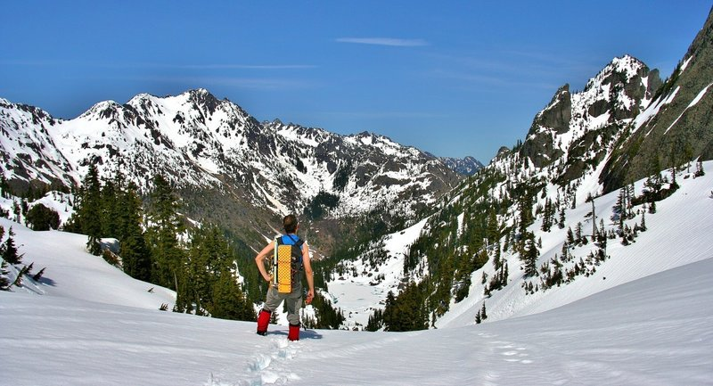 Standing and enjoying the view at Gladys Divide