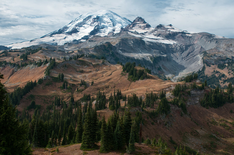 View of Rainier and Little Tahoma from the trail north of Indian Bar