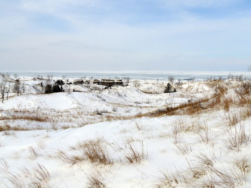 Looking at a frozen Lake Michigan!