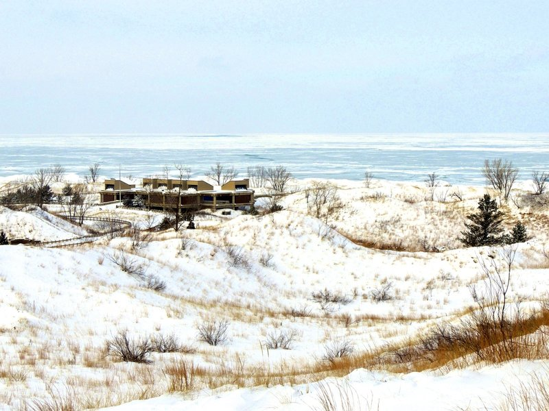 Stunning view of the ice on Lake Michigan and the West Beach bathhouse.