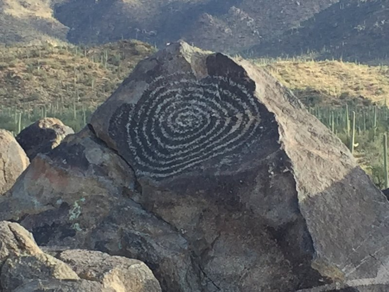 While you make your way on the Manville Trail, stop to appreciate the petroglyphs on Signal Hill.