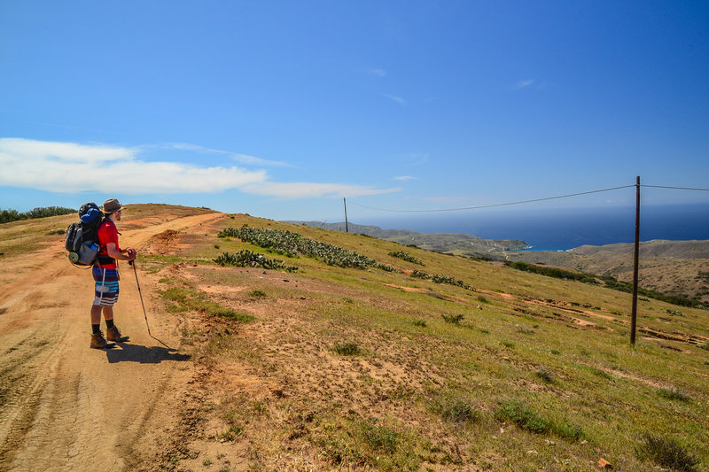 Stopping to take in the views on the Trans Catalina Trail.