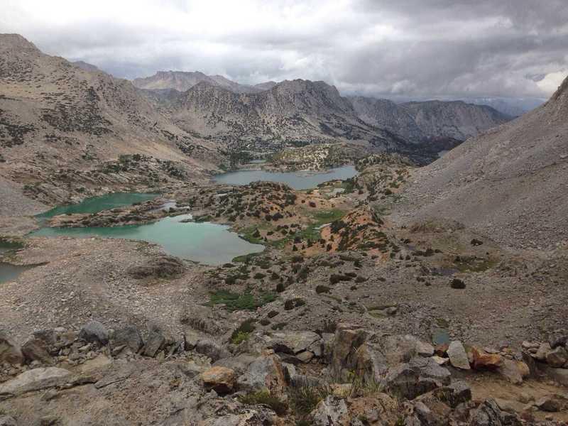 A view down to Bishop Lake and Saddlerock Lake from the trail just below Bishop Pass.