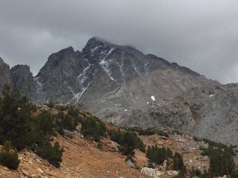 A view of Aperture Peak and Jigsaw Pass in the Inconsolable Range, from the Bishop Pass Trail.