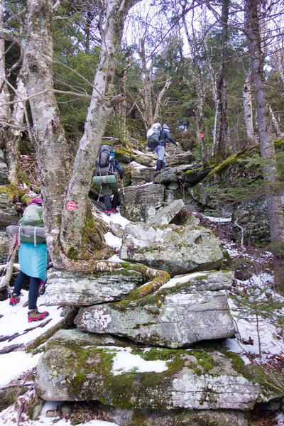 Heading up Sugarloaf Mtn. on the Devil's Path, made even trickier by snow.