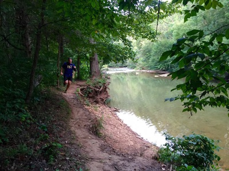 Running through the Ragnar Trail Fort Knox-KY Green Loop Trail.
