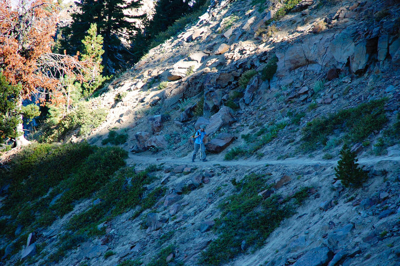 Hiking on the steeper portions of the Garfield Peak Trail.