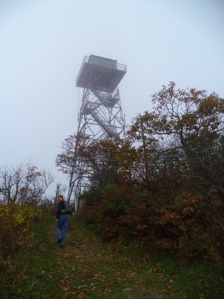 David entering Frying Pan Mountain Lookout Tower.