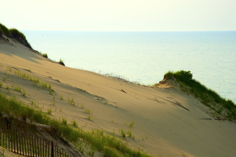 Sweeping views of Lake Michigan from the top of Mt. Baldy during a ranger-led tour.