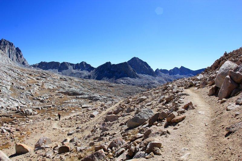 Bishop Pass Trail snaking along.