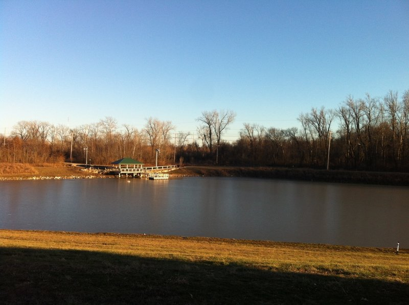 A view of the lake and the fishing dock/gazebo.