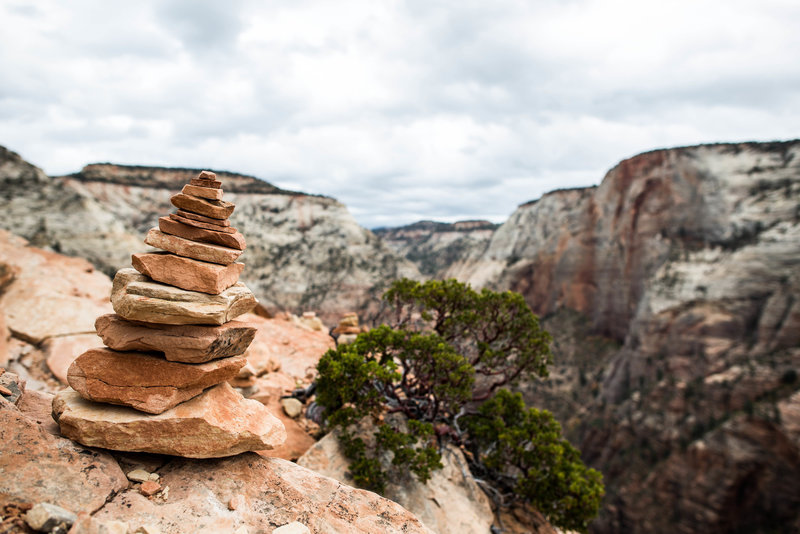 Angel's Landing is notorious for its cairn stacks, but try to minimize the impact and not set those up, it really takes away from the natural untouched wild feeling. Cairns are meant to designate a trial, not to be a temporary mark that you were there.