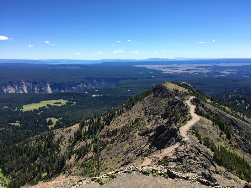 Looking down Mt Washburn trail - Tetons, Hayden Valley, and Yellowstone Gorge in background