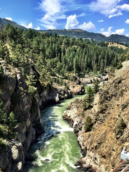 Yellowstone gorge looking west from the suspension bridge on Hellroaring Creek Trail.