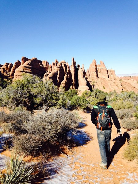 Getting started on our hike! November 2014.