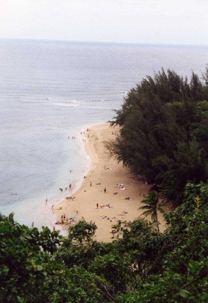 Ke'e Beach from the Kalalau Trail.