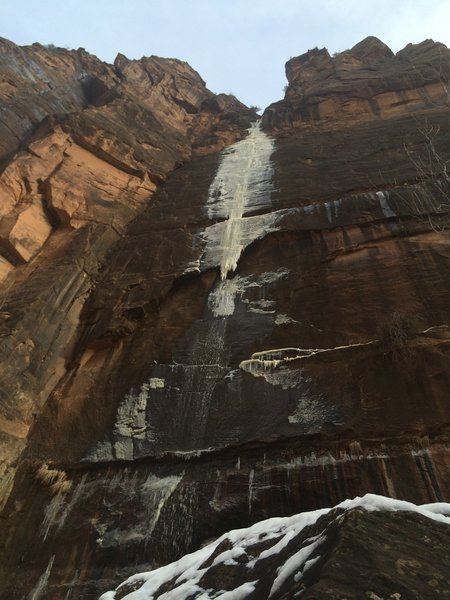 When hiking at Zion during the winter, be sure to look up! Icicles grace the rock faces!