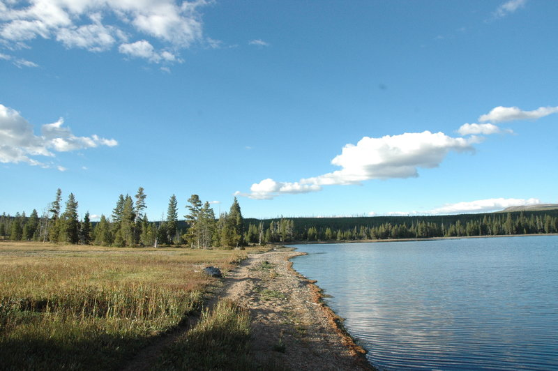 View north along Heart Lake Trail just before Campsite.