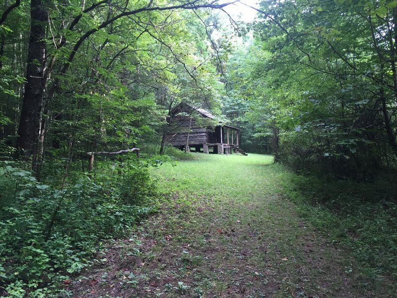 Approaching Hall Cabin at end of Bone Valley Trail