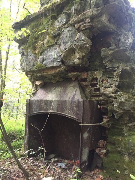 Chimney from Kress hunting lodge, in woods beyond Hall cabin